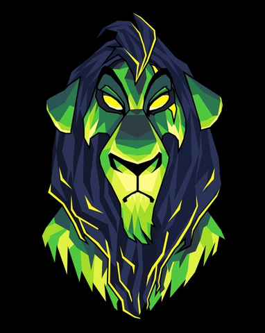 An eerie geometric style print of Scar in shades of green and blue