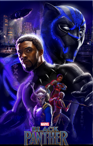 Black Panther, Nakia, Killmonger, and Okoye are portrayed in front of the modern city of Wakanda, in the background