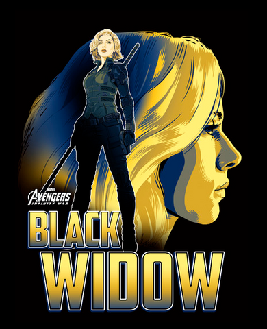 Black Widow is portrayed alongside her name. She is standing in front of a backdrop of her face, ready to fight