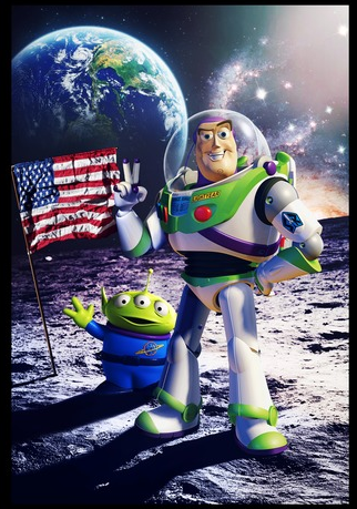 Buzz Lightyear and Squeeze Toy Aliens standing on the moon with the American flag beside them