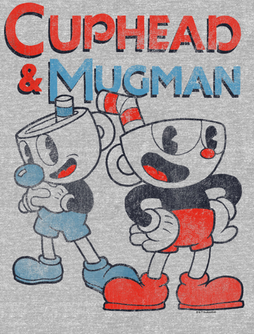 Distressed Cuphead with his hand on his hips and Mugman has his fist in his hand