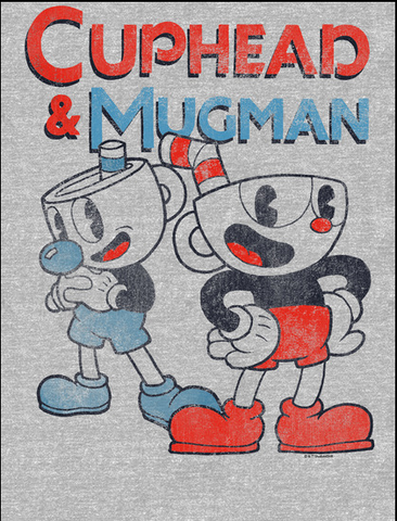 Cuphead and Mugman are standing underneath their names. Cuphead has hands on his hips while Mugman has his arms crossed