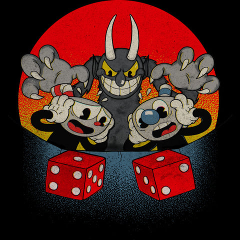 Cuphead and Mugman looking at the dices in panic while The Devil grins down at them