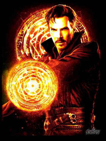 Doctor Strange is illuminated by his protective fields. He stands in front of one as it glows behind him while the other is in front of him