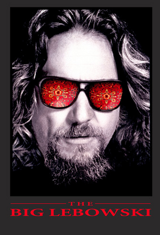 The Dude is portrayed with red psychedelic sunglasses above the film's logo