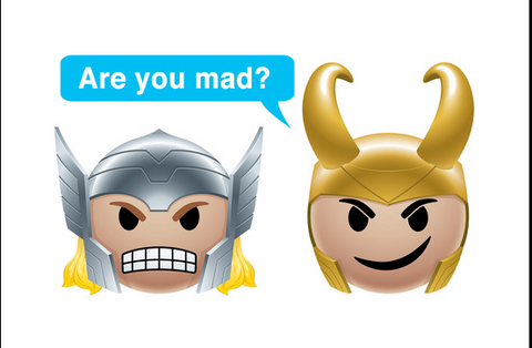 """Thor and Loki head emojis are next to each other. Thor looks mad while Loki is smirking with the text bubble, """"Are you mad?"""""""