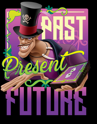 """Mr. Facilier holds out his tarot cards with the text, """"past present future"""""""