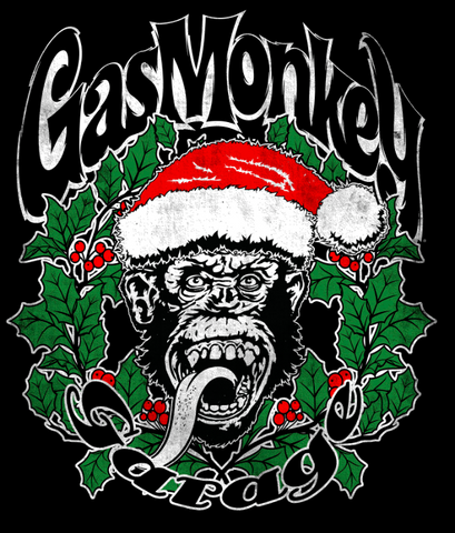 Gas Monkey Garage surrounds the green wreath and the chimp in a Santa hat