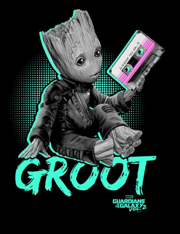 "Baby Groot is featured wearing his space gear, holding Quill's beloved cassette tape, with ""Groot Guardians of the Galaxy Vol. 2"" across him"