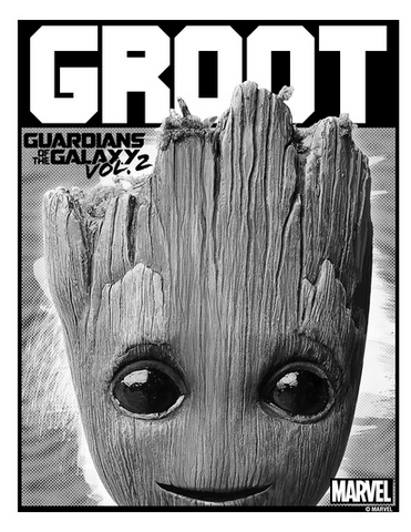 An innocent-looking Groot pops his head up in a frame under his name in big white text