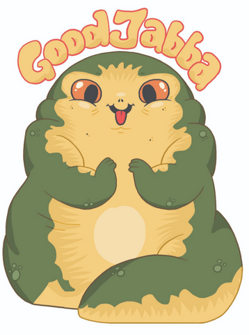 "Cute cartoon Jabba with the text, ""good jabba"""