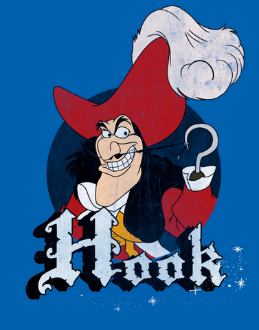 Captain Hook pulling his mustache by his hook and grinning with the his name underneath him