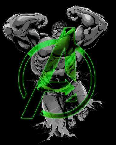 A gray print of the Hulk leaping behind a green Avengers logo