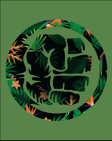 The Hulk's fist logo is portrayed in a tropical floral pattern