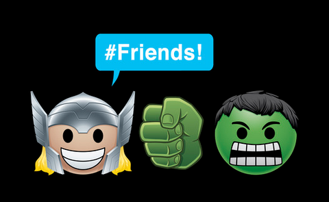 """Thor and the Hulk, are portrayed as emojis alongside the text """"#Friends"""""""