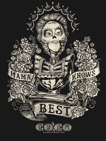 """skeleton Imelda is portrayed in a cool ornate style with """"Mama Knows Best"""" across the front"""
