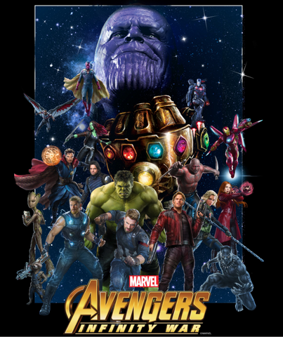 Superheroes from Infinity War are portrayed across a starry night while Thanos looms above