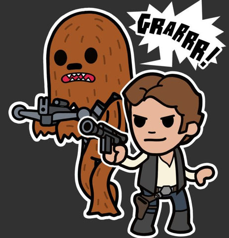 Chewbacca and Han Solo cartoon with their weapons ready to fight