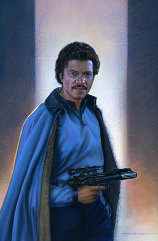 Lando standing in a blue outfit with a gun ready