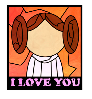 """A stained-glass-style image of Princess Leia with her famous quote """"I Love You"""" from The Empire Strikes Back"""