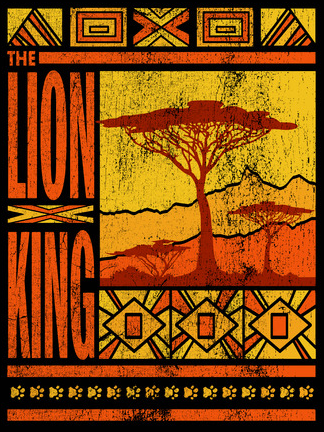 A distressed view of the Savannah landscape with the Lion King logo down the side