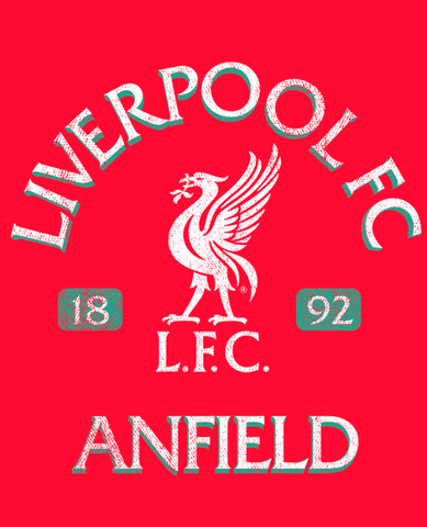 "Distressed Liverpool logo and white text, ""Liverpool FC Anfield"" on bright red background"