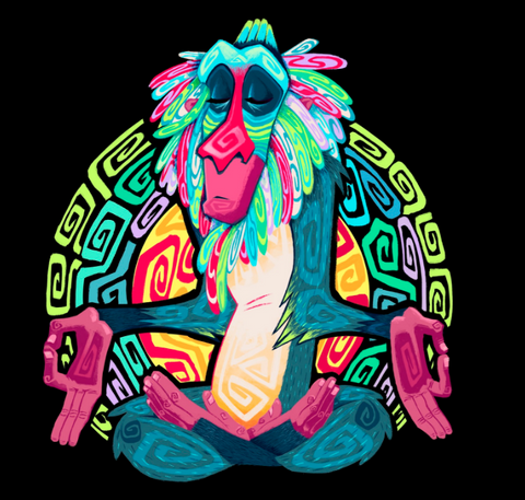 Rafiki is in a lotus pose with his eyes close. He is depicted with geometric patterns and colorful shades