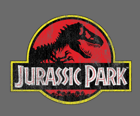 Classic red and red Jurassic Park logo with T-Rex