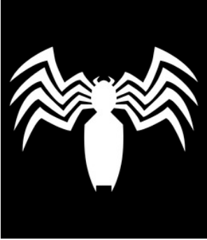 White Venom claw spider logo on a black background