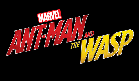 A classic yellow and red Ant-Man and the Wasp logo on black background