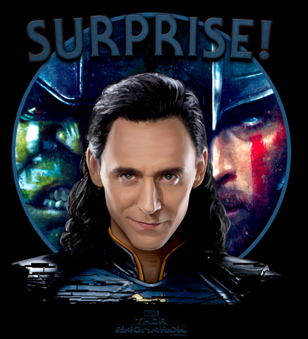 "Loki smirking in front of Thor and Hulk with the text, ""surprise!"""