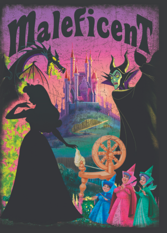 Dragon is hovering over Sleeping Beauty's silhouette with Maleficent and the three fairies on the right. Maleficent is written at the top with the castle in the distance.