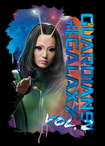 "Mantis Stars reaches out her hand with a starry galaxy stretching out behind her. The text, ""Guardians of the Galaxy Vol. 2"" lines the right side of the photo"