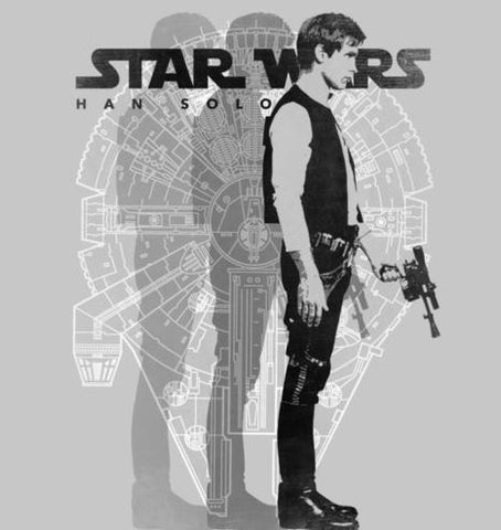 Black and white millennium falcon and Han Solo Portrait