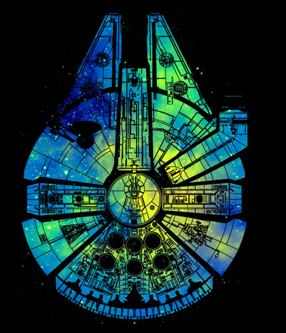 Watercolor outline of the millennium falcon in blue and green