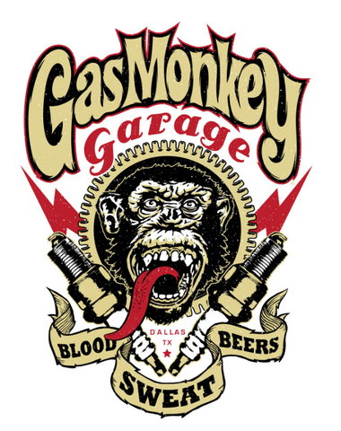 "A beige and red print on the front of the chimp features the Gas Monkey Logo and ""Blood Sweat Beers"""