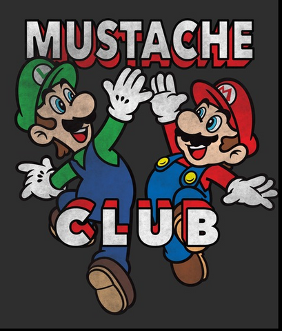 """Mario and Luigi high fives each other with text, """"Mustache Club"""""""