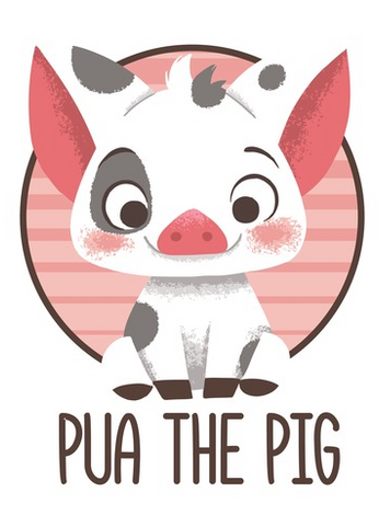 "Pua, smiles out at you with text that reads ""Pua the Pig"""