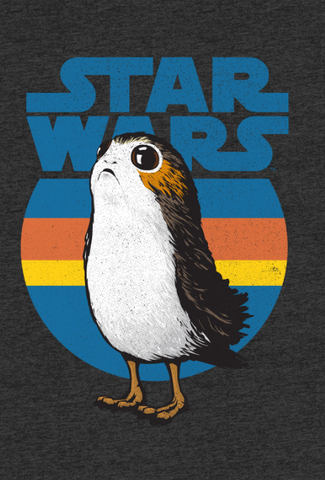 cartoon Porg is printed across the Star Wars logo and a 1970's inspired pattern