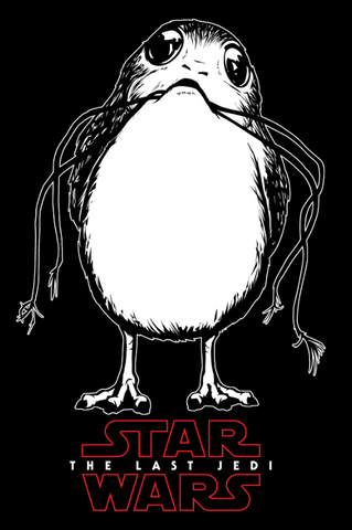 Porg holds a piece of grass in its mouth in preparation for nest building, while the Last Jedi logo is printed below