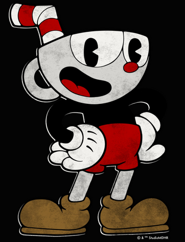 Cuphead with hands on hips with a happy pose
