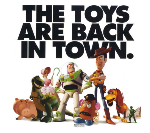 """toy story characters stands under text, """"the toys are back in town"""""""