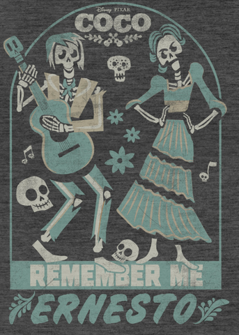 """Hector and Imelda are shown in their skeleton form with """"Remember Me Ernesto"""""""