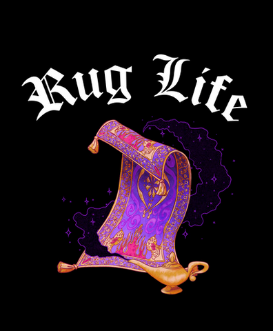 "Rug and lamp from Aladdin with the text, ""Rug life"" above them"
