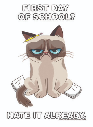 """A cartoon Grumpy Cat poses on this tee with a pencil behind one ear while sitting on sheets of homework and the words """"First Day of School? Hate it Already."""""""