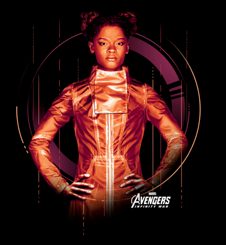 Shuri stands in an orange suit with her hands on her hips with the avengers logo behind her