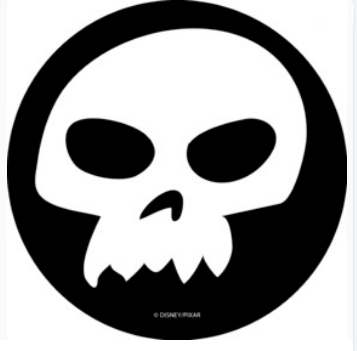 Black and white Sid Skull from Toy Story