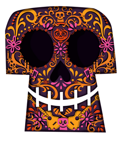 A grinning orange and pink sugar skull with guitars and Miguel in the design