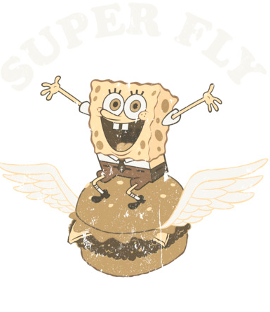 """SpongeBob flies across this black scoop neck tee in a distressed image of a cheeseburger with wings and """"Super Fly"""" above him"""