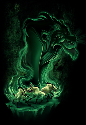 Hyenas from Lion King is surrounded by green flames. The rising flames turns into a green smoke figure of Scar.